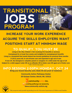 Transitional Jobs info session @ Community Action Pathways Center | Beloit | Wisconsin | United States