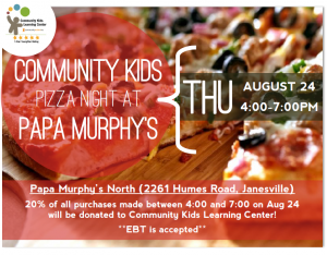 Pizza Night to Benefit Community Kids Learning Center @ Papa Murphy's North | Janesville | Wisconsin | United States